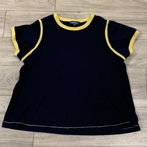 ModCloth Navy and Yellow Cotton Ringer Tee
